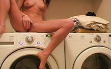 Teen masturbates on the washing machine