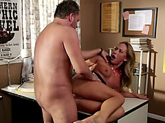 Sexy blonde bitch fucked in the office