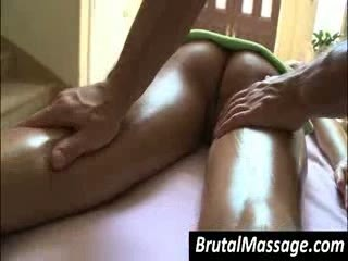 Blond gets Booty fucking oil massaged