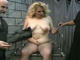 BBW slave is spanked and punished by two masters