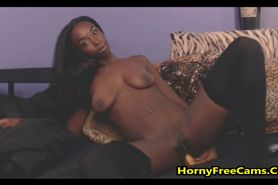 African Beauty Fucks Pussy And Butthole With Dildo