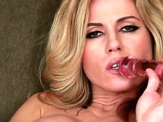 Young pretty blonde beauty Randy Moore with tight ass and natural boobies teases in close up and enjoys stuffing pink pussy glass dildo in provocative
