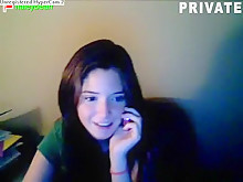 21yo stickam girl \'haleybearr\' fingers her shaved pussy on a chair and moans