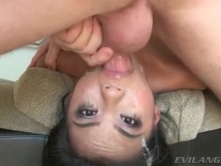 Face fucked whore has spit all over