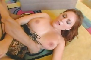 Brunette Cum Guzzler Gives A Blowjob To A Guy
