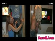 Gloryhole girl and gay friend trick straight guy