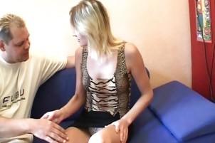 Sex-crazed Blonde Opens Her Legs For Cock