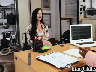 Interracial POV blowjob and dick riding with massive titted brunette slut!