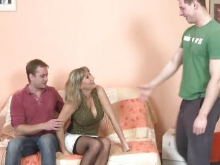 She\'s totally ready to let these studs give her a dual shagging