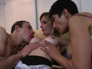 Mom and mom fucked by not their son