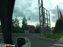 Couple sex outdoor by the car