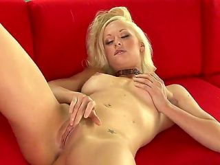 Young long haired cute blonde babe Lux Kassidy with medium round boobs and tight sweet ass gets naked while teasing lover in pov and polishes wet hone