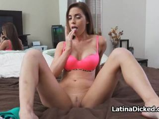 Hot bigtit Latina blows on sex tape