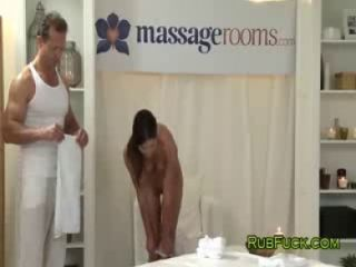 Brunette gets massaged and gangbanged
