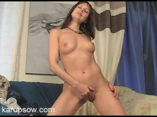 Milf Cindy sensually plays with her shaved pussy