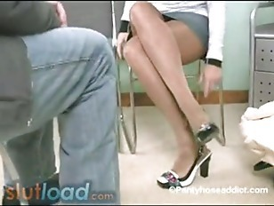 Izzy At The Shoe Store In Shiny Pantyhose