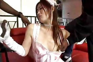 Cute Japanese Maid In Pink Gets Double Black Cock