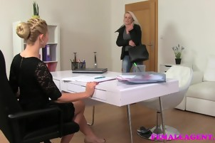 FemaleAgent Sexy agent fulfills busty blondes strap on fantas