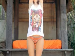 Caprices wet yoga with pink Dildo