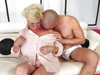 Blonde grandma is horny for fresh cock