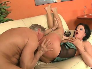 Experienced lover Christoph Clark fucking beautiful brunette babe Olivia on the sofa