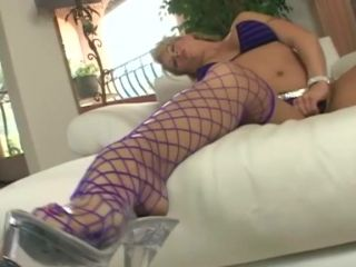 Masturbating in fencenet stockings