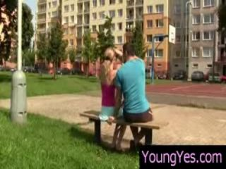 Teen walks with bf in park