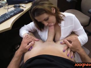 Foxy big titted business woman fucked for plane ticket