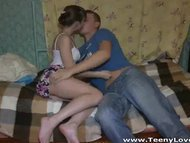 Young Christine gives a blowjob and anal fuck