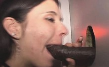 Brunette Sucks Black Dick And Takes Facial At Glory Hole