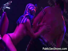Sexy naughty couple is on the stage strip and performing sex