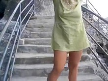 walking undressed on the stairways outside