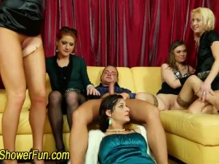 Pissing sluts in orgy get pissed on