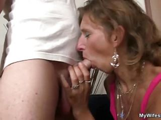 Wife watches husband fucking mom