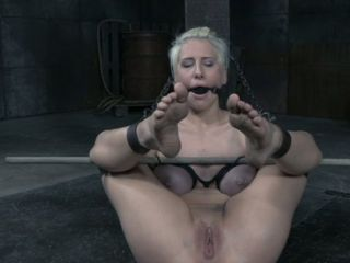 Bearded dude plays with pierced pussy of tied up sex-slave