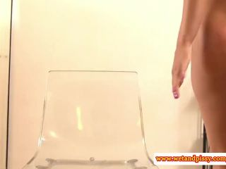 Urine loving eurobabe playing with pee