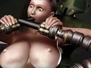Robots sex attack for a big titted chick