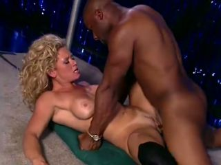 Desirable blonde stripper ass fucked on the stage by a black dude