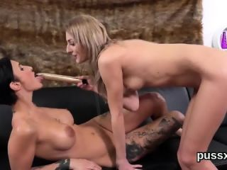 Erotic czech nymphos stretch their bums with anal plug and big sex toys